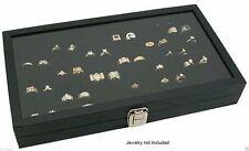 Glass Top Lid 72 Ring Black Showcase Jewelry Display Storage Organizer Box Case
