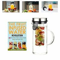 Fruit Infusion Flavored Water Pitcher Glass Stainless Steel Lid Infuser Jug