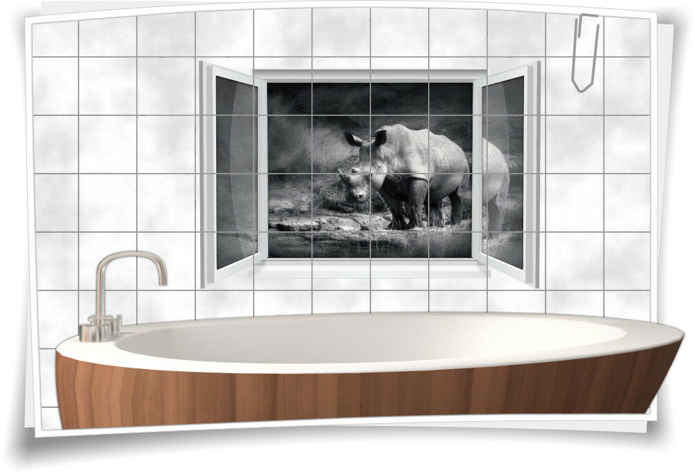 Fliesenaufkleber Fliesenbild Fliesen Aufkleber Nashorn Afrika Savanne Bad WC | Bekannt für seine gute Qualität