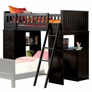 0c4f3fdb73fa ACME Willoughby Twin Loft Bed with Desk in Black 840412938221   eBay
