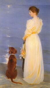 Old Vintage KROYER Art Print Victorian Woman on Beach Moonlight Irish Setter Dog