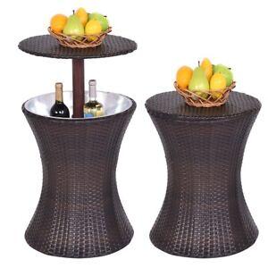 Pleasant Details About Outdoor Patio Rattan Wicker Ice Cooler Bar Table Party Adjustable Drink Storage Inzonedesignstudio Interior Chair Design Inzonedesignstudiocom