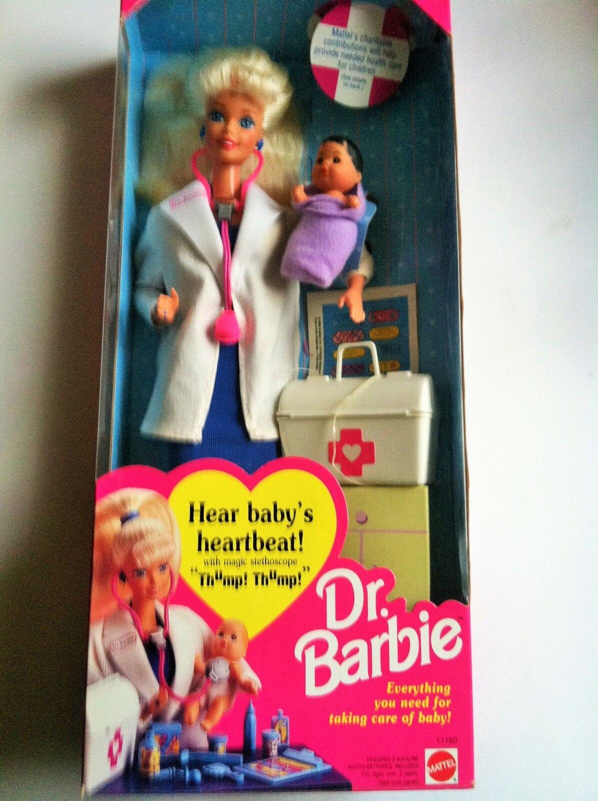 1993 Mattel Muñeca Barbie carrera Colección Dr. hispano Bebé Pediatra Médico