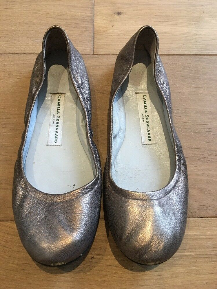 CAMILLA SKOVGAARD Flat shoes Metallic Leather EU 39 UK 6 6.5 US 8.5 9
