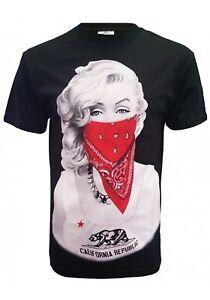 Sexy-Marilyn-California-Bandana-Thug-Life-Men-039-s-T-Shirt