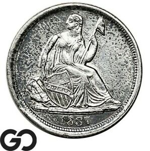 1837-Seated-Liberty-Half-Dime-No-Stars-Sharply-Struck-BU-Key-Date