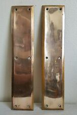 2 Vintage Brass Beveled Door Push Plates Architectural Salvage 14 inch