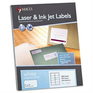 Maco-ML-1000-Shipping-Labels-2-034-x-4-034-10-to-The-Page-1-Box-of-1000-Labels