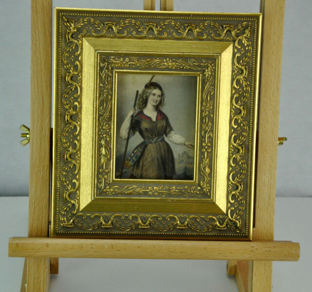 Beauty. Hand colored print. Framed. 19th Century.