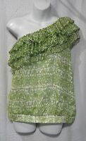 Cynthia Steffe Size 6 Lawn & Ivory Lined Silk One Shoulder Top