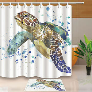 Image Is Loading Bathroom Decor Sea Turtle Waterproof Fabric Shower Curtain