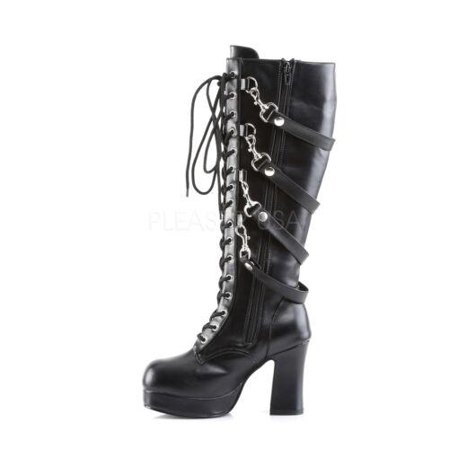 "Demonia 3.75/"" Mini Platform Hooks Straps Chunky Knee Boots Goth Gothic Club 6-12"