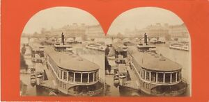 Parigi La Senna Il Louvre Pont Dei Arts Foto Stereo Vintage Albumina Ca 1860