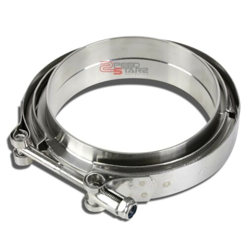 """4.5/""""STAINLESS STEEL TURBO CHARGER//DOWNPIPE//EXHAUST ZINC COAT V-BAND CLAMP+FLANGE"""