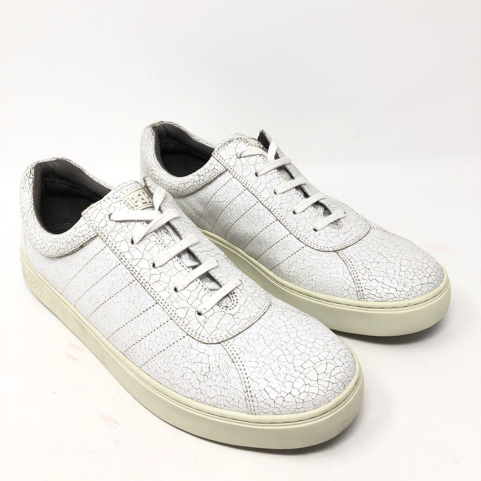 Camper Pelotas 87 White Crackle Pelle Lo Fashion  Shoes Uomo Size 45/12