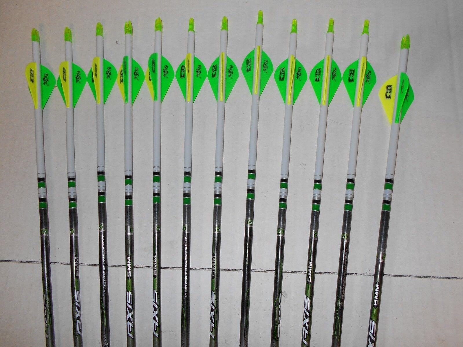 Easton Axis 5mm 500 flechas de carbono de caza  Crestado sumergido Bohning Blazer Paletas
