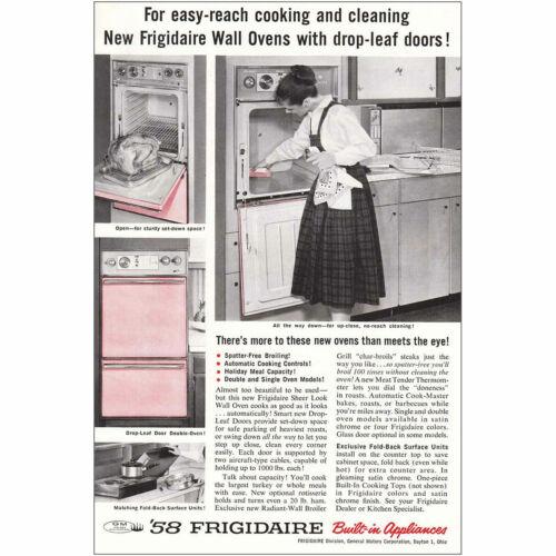 1958 Frigidaire Wall Oven Drop-Leaf Doors Vintage Print Ad