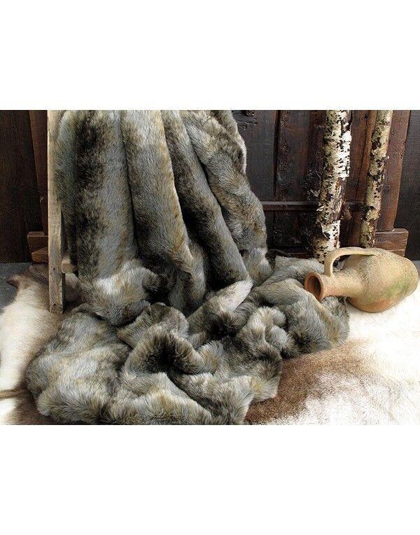 Ligne de joie de Noël (Nouvel An), Loup cadeau d'or grande livraison Loup An), gris fausse fourrure jeter b9e907