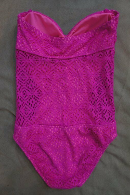 California Waves One Piece Sz XL Pink Illusion Crochet Crochet Crochet Monokini Swimsuit MY14368 17c257