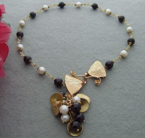"""FC042009 19/"""" naturel perle grenat Collier"""