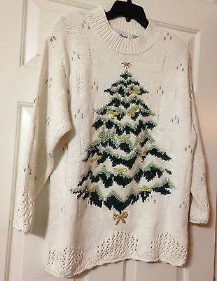 Croft & Barrow Christmas Sweater Jingle Bells Size XL Tree Ugly Tacky