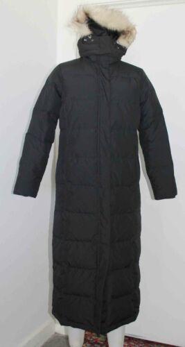 LL Bean Black Down Full Length Parka Coat MED Hood