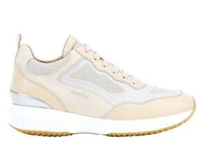 Geox-HAPPY-D0262A-08514-C5ZH6-Beige-Sneakers-pelle-Scarpe-da-Donna-Casual