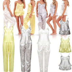99c401a920 Ladies Women 3 Piece Satin Pyjama Set Vest Lace Shorts PJ'S ...