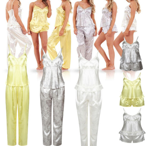 Ladies Women 3 Piece Satin Set Her Pyjama top Trouser Short PJs Nightwear Nighty