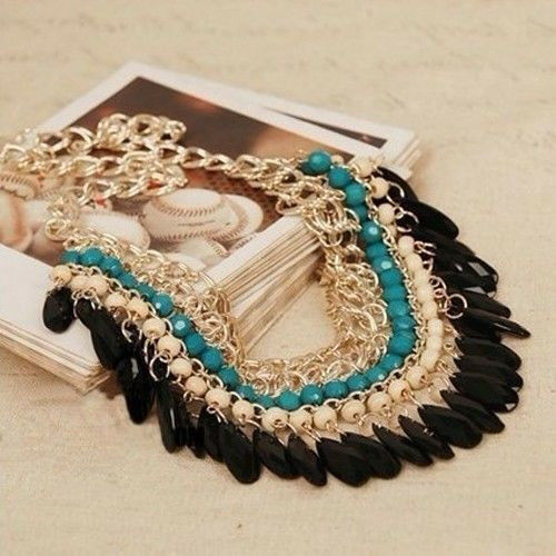Fashion Jewelry Chunky Bib Pendant Chain Choker Statement Necklace
