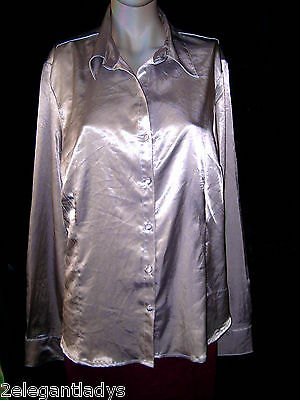 ELEGANT LADY SILVER  STRETCH  SHINY SATIN SHIRT TOP BLOUSE L
