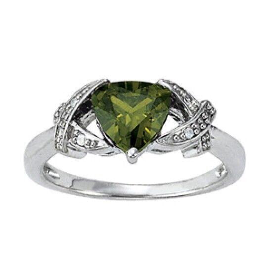 NEW LADIES 14k WHITE gold DIAMOND & TRILLION CUT PERIDOT RING
