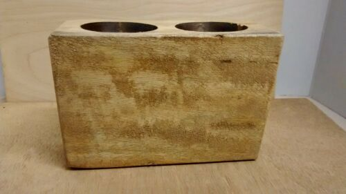 2 Hole Wooden Sugar Mold Candle or Plant Holder Wood grain may vary.