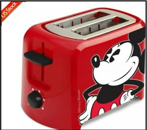 Disney-Mickey-Mouse-2-Slice-Toaster-Leaves-Mickey-Imprint-Kitchen-Cooking