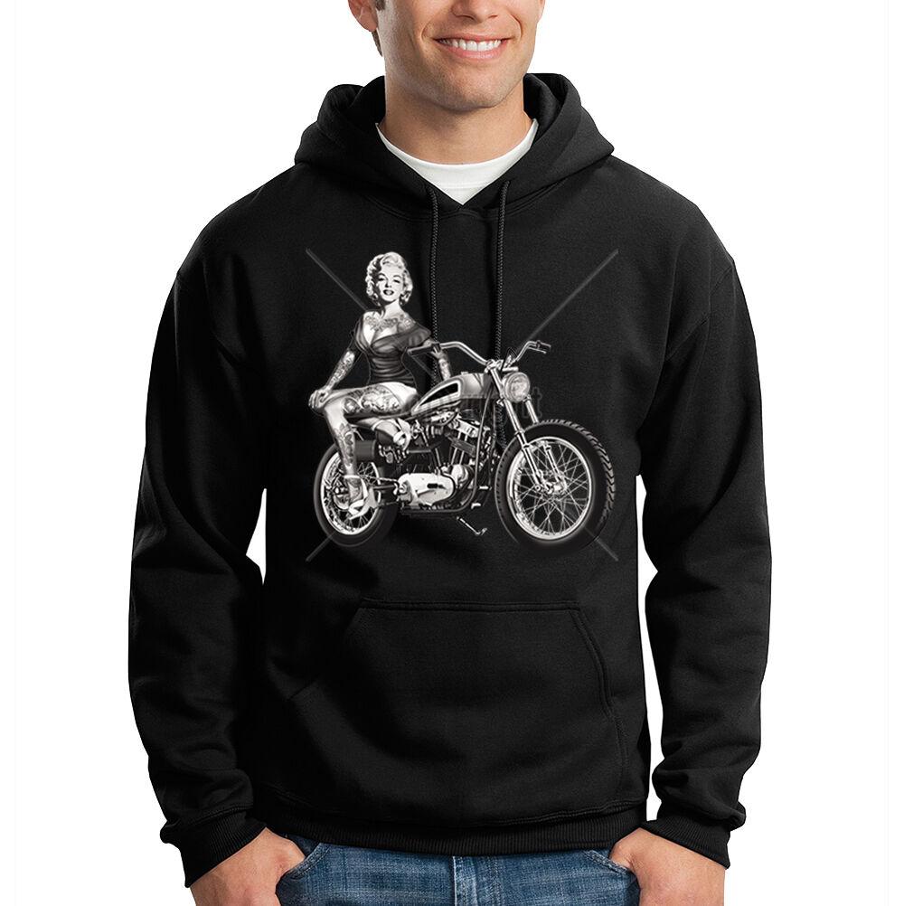 Marilyn Monroe Sitting On Motorcycle Gangsta Tattoo Hooded Sweatshirt Hoodie