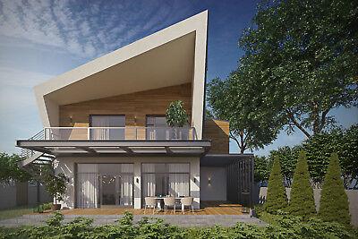 Modern House Plan Building Plans Blueprints Material List 2018 193m 3 Ebay
