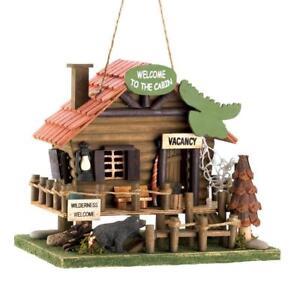HOME-GARDEN-DECOR-WOODLAND-CABIN-BIRD-HOUSE-BIRDHOUSE-WOOD