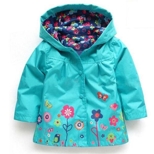 Baby Girls Kids Hooded Trench Rain Coat Jacket Parka Flower Outwear Windbreaker