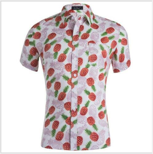 New Short Sleeve Men/'s Cotton T-Shirt Casual blouse Hawaii Print Tee Shirts