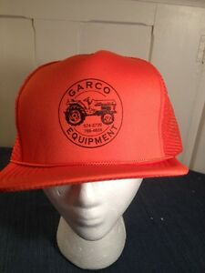 Image is loading farm-advertising-trucker-hat-cap-flurescent-orange-garco- da5a76089c26