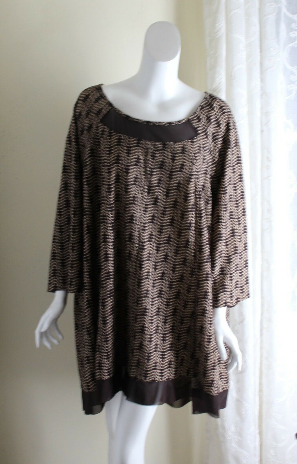 Catherines 4X Gorgeous braun Ethnic Art-to-Wear Long Funky A-Line Tunic Top