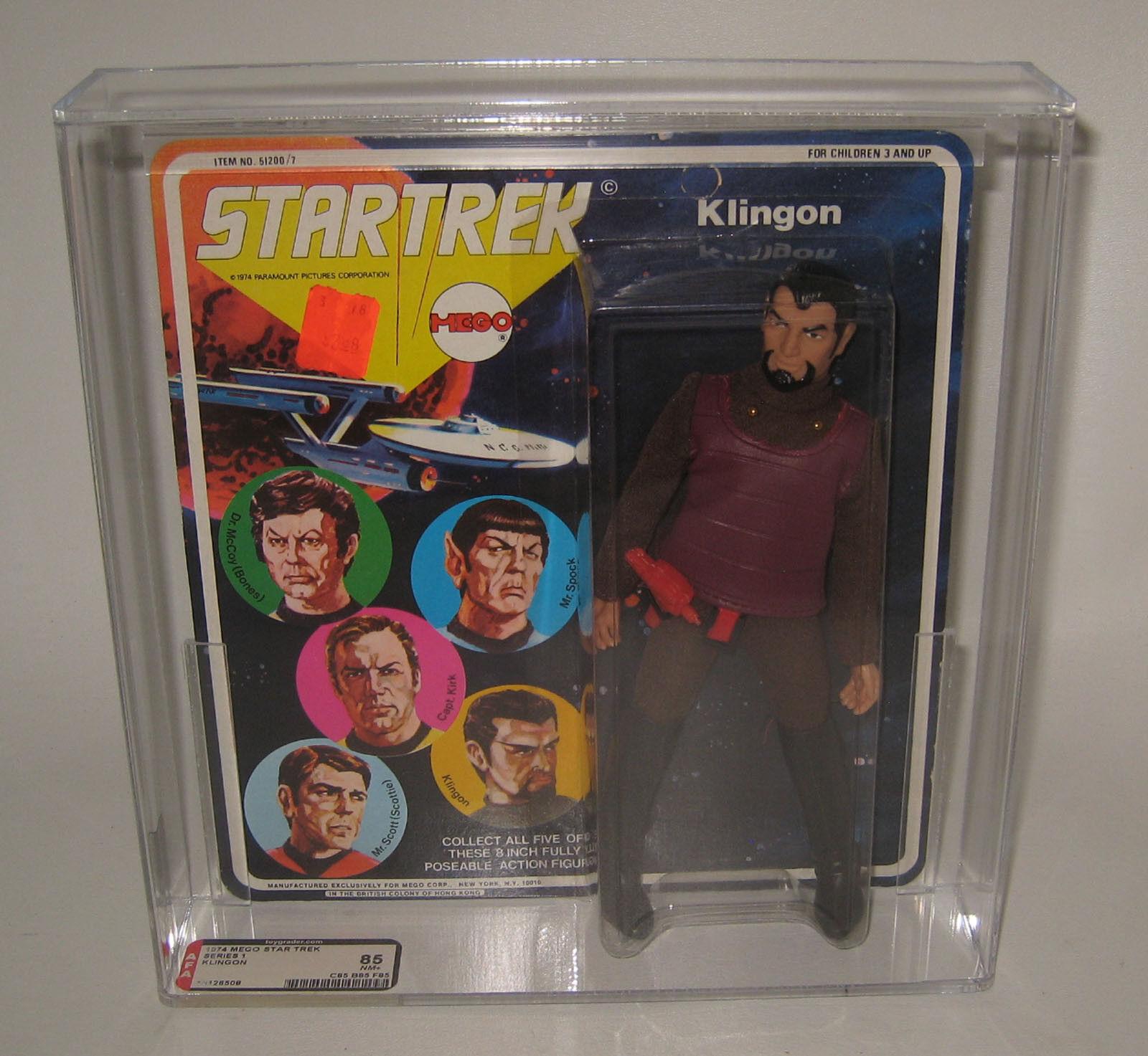 1st Issue 1974 Mego Star Trek TOS Klingon Action Figure MOC 5 Faces AFA 85 NM+