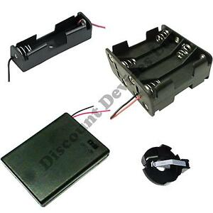 1-2-3-4-6-8-x-AA-AAA-23A-9V-Battery-Holder-Snap-On-Connector-Enclosed-Box-Switch