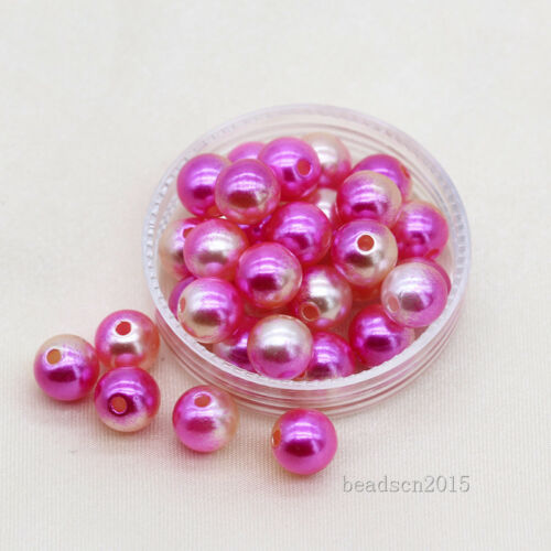 200p 8 mm Balle Ronde A Coudre Sur acrylique Perle Spacer Trou Perles de perles bijoux making