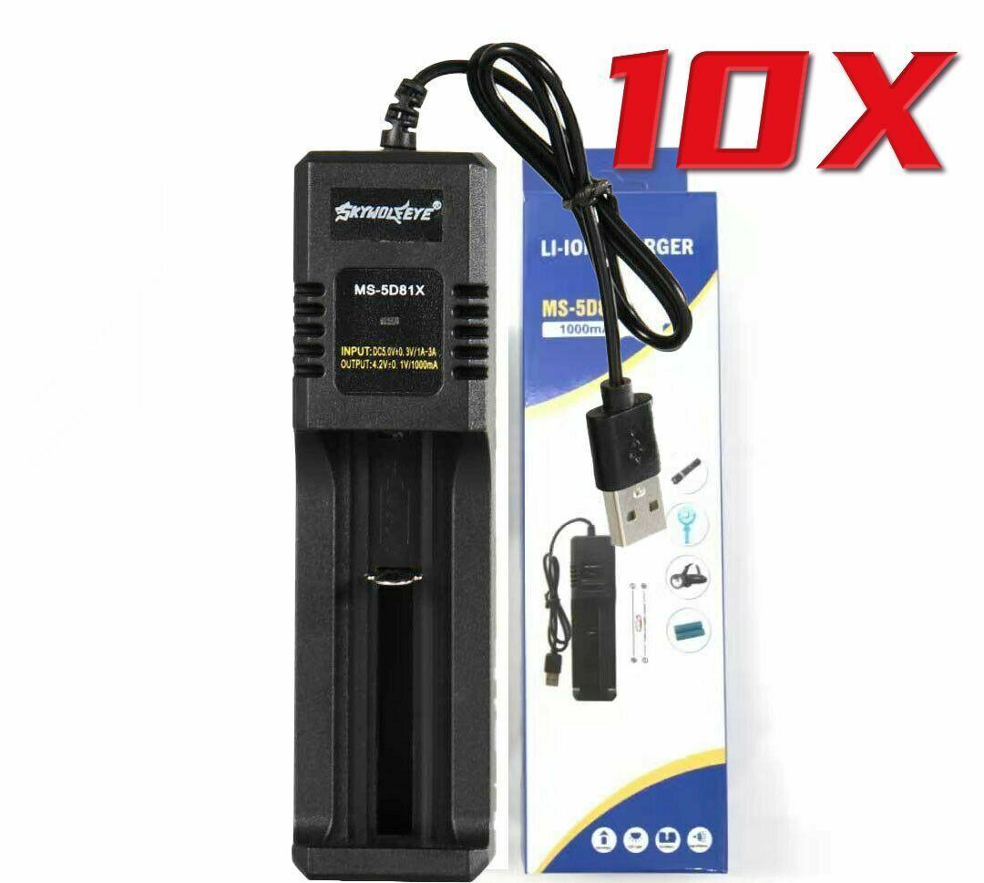 10PC 18650 Battery Charger Smart Li-ion Rechargeable Slots USB Plug Portable