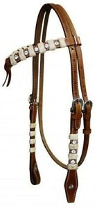 Showman-Leather-Futurity-Knot-Headstall-amp-Reins-w-Rawhide-amp-Rhinestones-NEW