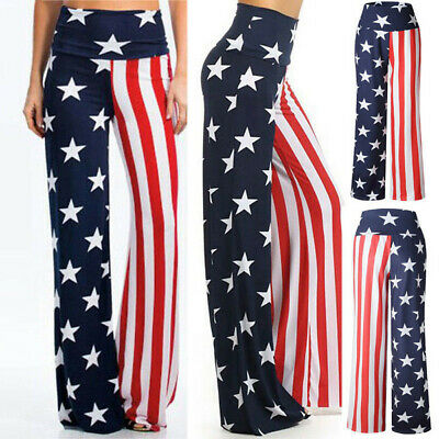 Fashion Womens High Rise American Flag Wide Leg Pants