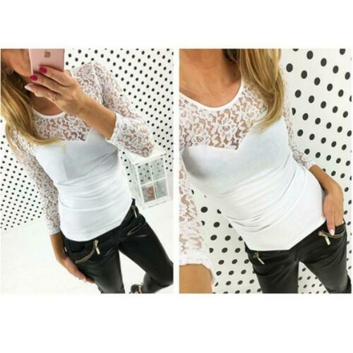 Women Long Sleeve Loose Lace T Shirts Fashion Ladies Casual Blouse Tops Shirt LA