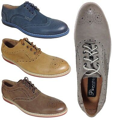 Parrazo Men Dress Shoes Real Leather Upper Oxfords Wingtip Lace up Rubber Sole J