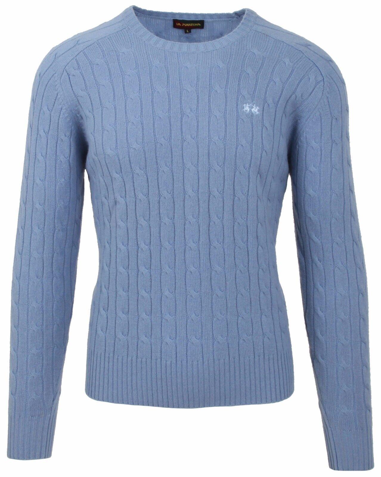 LA MARTINA POLO Pullover Sweater Jumper Größe L aus Kaschmir & Merino Wolle Blau